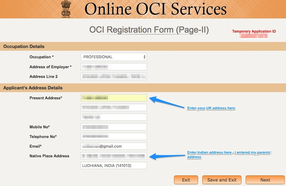 how to submit oci application in india