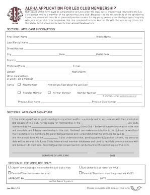 lions australia membership application form