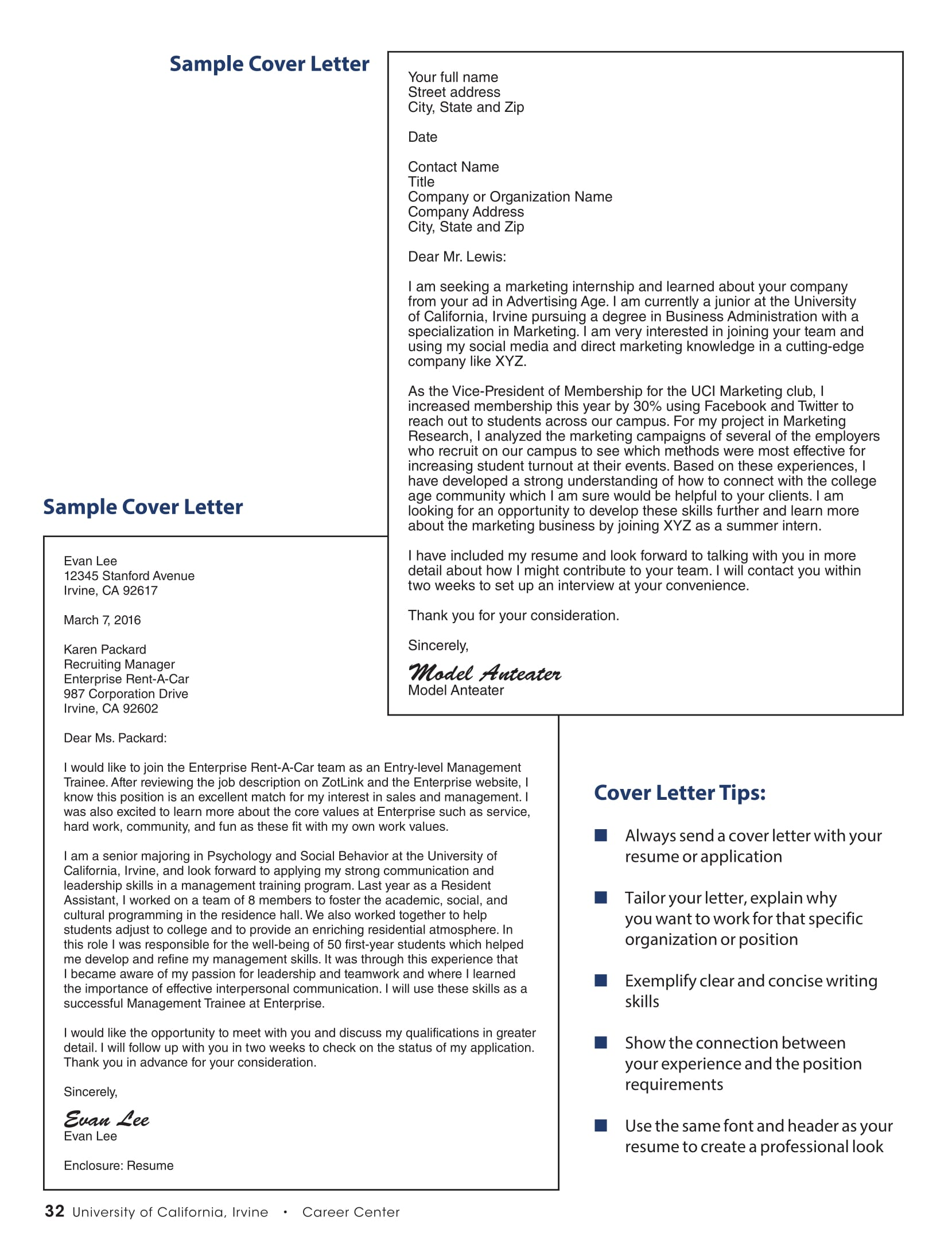 examples of employment application letters