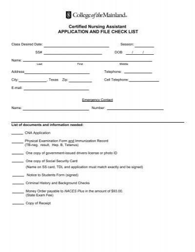 certified nursing assistant application form