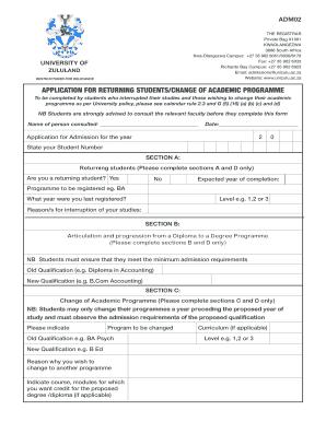 www unizulu ac za application form