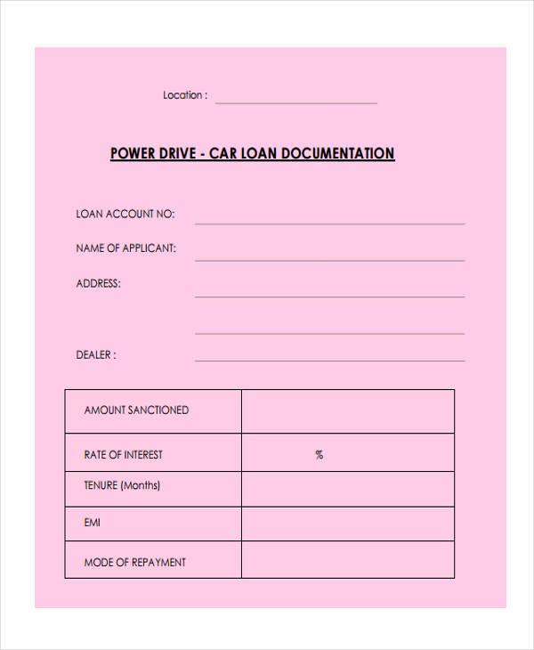 car loan application form sbi
