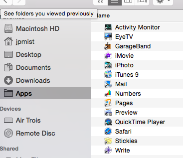 how to remove a folder out of applications
