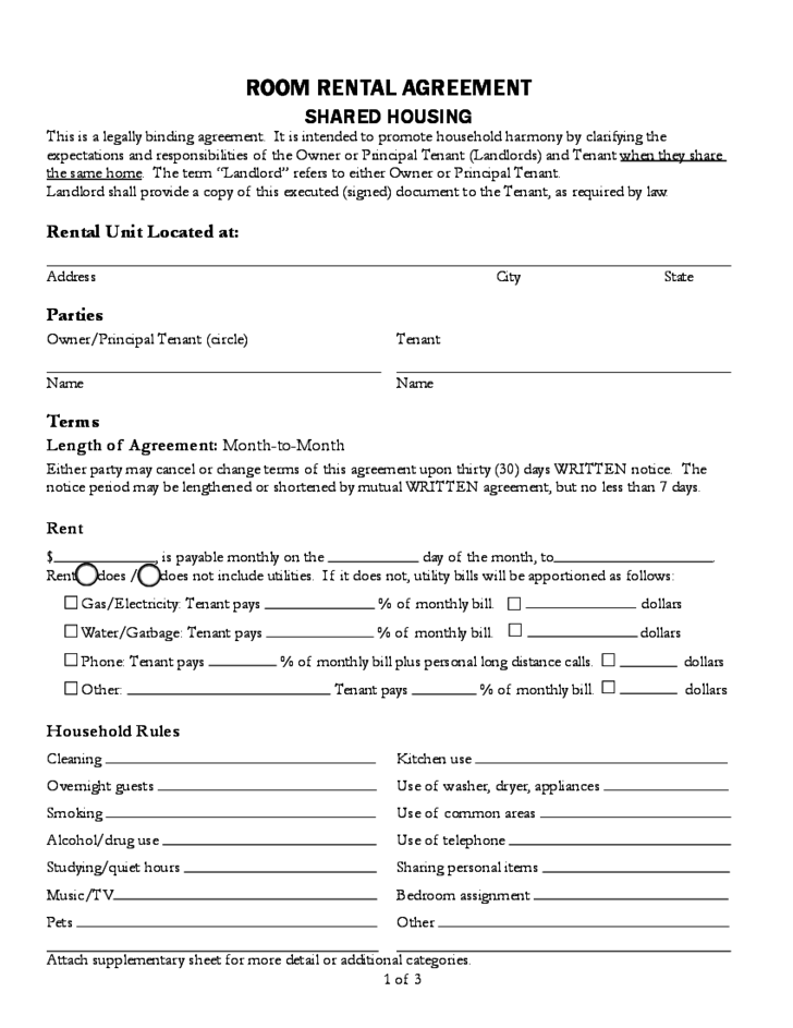 tenancy application form utility bills