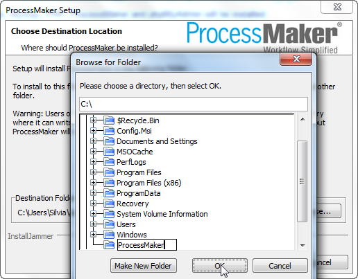 windows identify application create folder