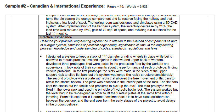 work experience application form example
