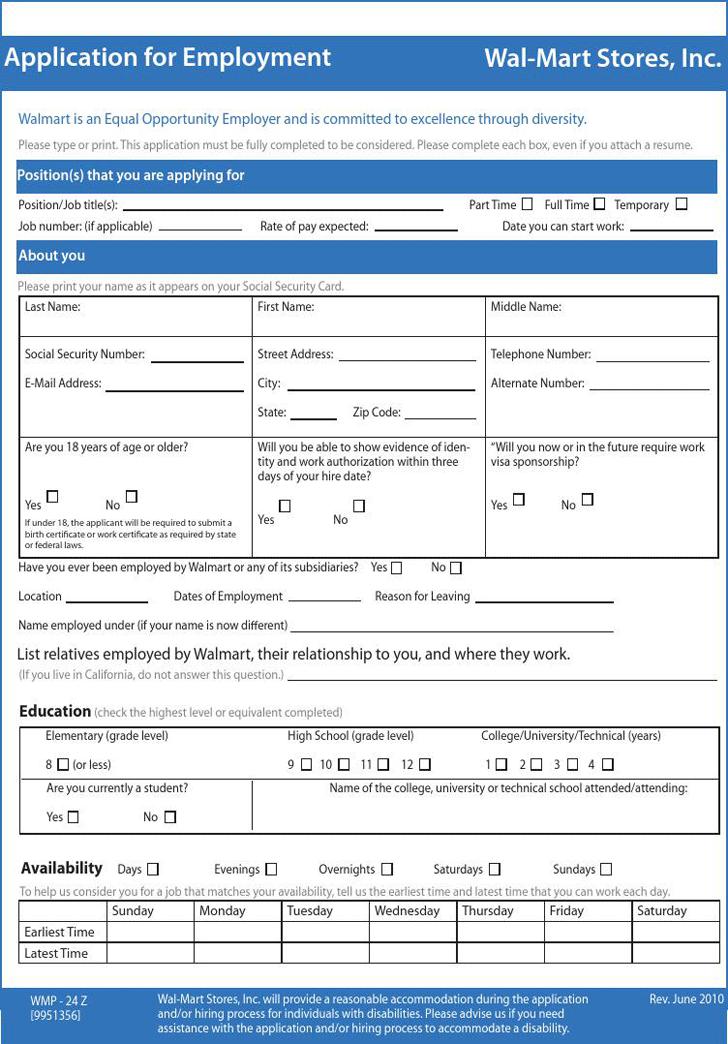 walmart printable job application pdf