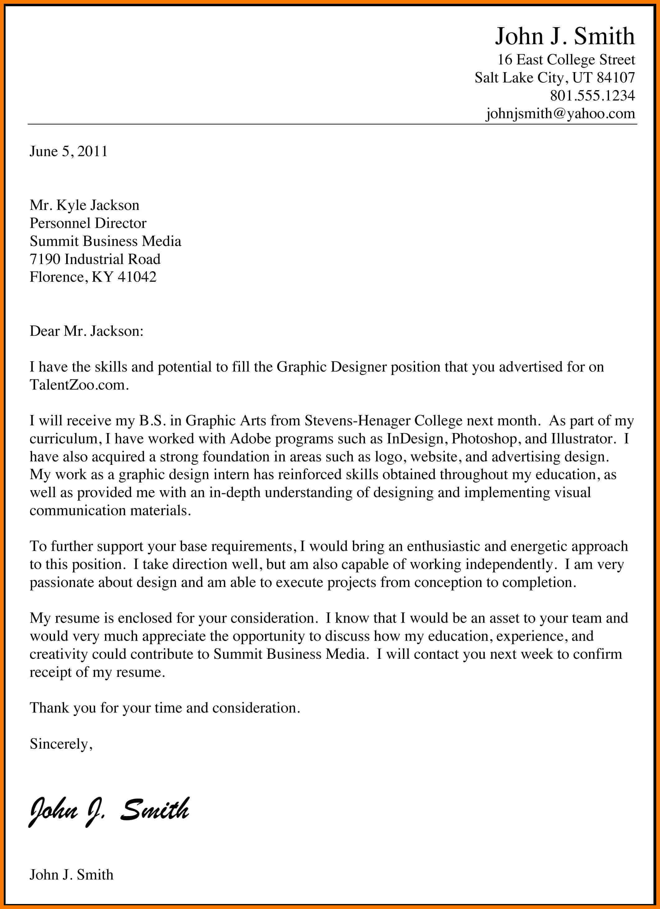 examples of cover letter for job application in business