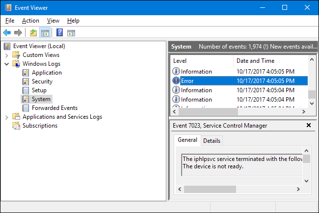 windows application log event id
