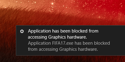 application has been blocked from accessing graphics hardware wow