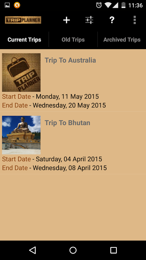 trip tracker application on android
