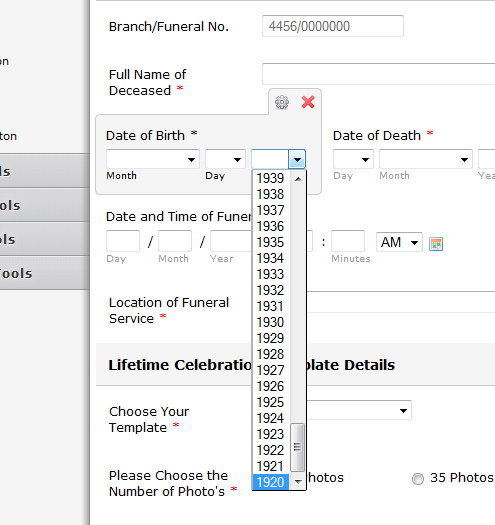 how to fill in date of birth application